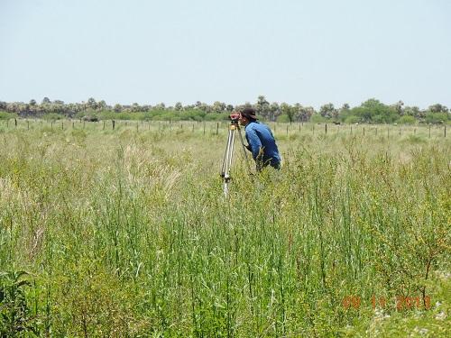 Estudiante mide nivel del sitio donde se encuentra la forestación